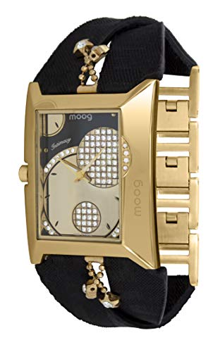 Champagne Dial Jewelry - Moog Paris Intimacy Women's Watch with Champagne Dial, Black Genuine Leather Strap & Swarovski Elements - M44952-004