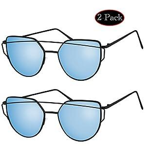 [Buy 1 Get 1]Elimoons Sunglasses for Women Men Cat Eye Mirrored Flat Lenses Metal Frame Sunglasses UV 400, 2 Pack, Black/Blue