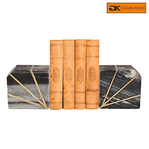 GAURI KOHLI Rustic Marble Bookends with Brass Inlay (Set of 2 | Color Grey)