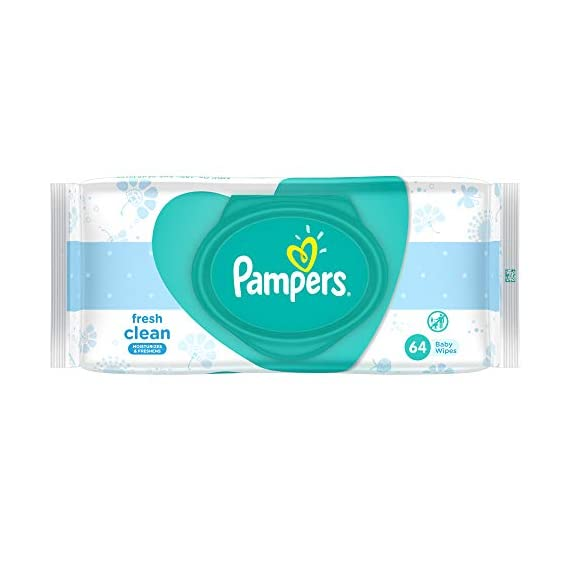 Pampers Baby Wipes Fresh Clean Dermatologically Tested Safe for Baby's Skin 64 Count
