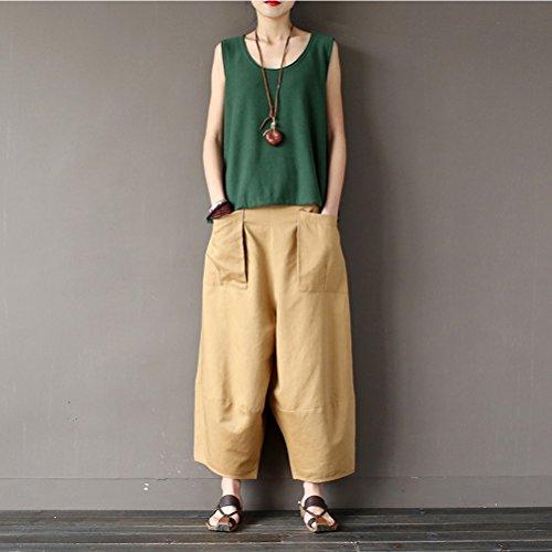 Couleur Larges Kaki Aeneontrue Unie Loose Haute Casual Femme Avec Poches Ample Lin Pantalons Taille Big Jambes Harem Coton IgBgTqw7
