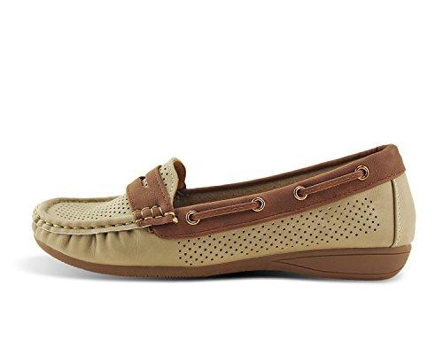 Jabasic Lady Comfort Slip-on Loafers Hollow Driving Flat Shoes(7.5,Beige) by Jabasic (Image #4)