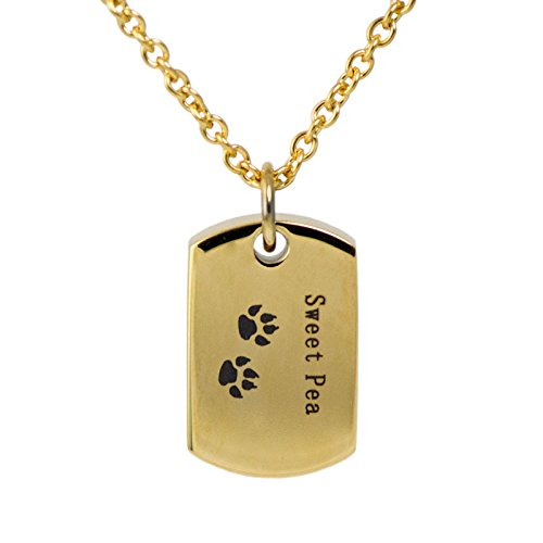 (Sweet Pea Dog Tag Stainless Steel Memorial Keepsake Necklace for Loss of Loved One - Extra Small Holds 1 Cubic Inch of Ashes - Silver Cremation Jewelry for Ashes - Engraving Sold Separately)