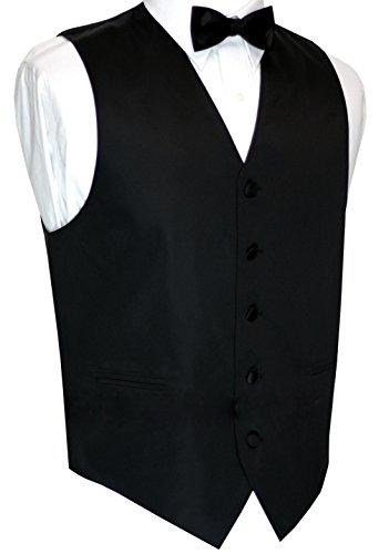 Brand Q Italian Design, Men's Formal Tuxedo Vest and Bow-Tie Set - Black - M