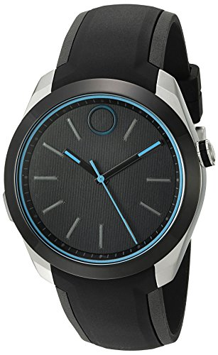 Movado Swiss Quartz Stainless Steel and Silicone Casual Watch, Color:Black (Model: 3660001)