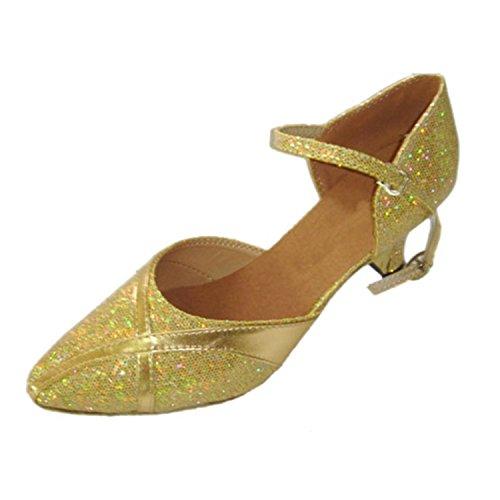 YFF Gift Women Dance Shoes Ballroom Latin Dance Tango Dancing Shoes 6CM,Golden,35