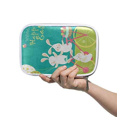 Bunny Rabbit Egg Easter Large Pencil Case Multifunction Leather Makeup Brushes Bag Storage Zip Bags