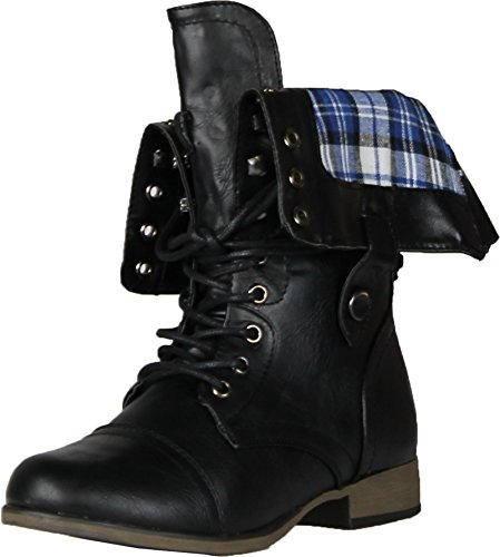 Dbdk Sharper-1 Legend8 Elegante Avvio Da Donna In Ecopelle, Plaid Nero, 6.5