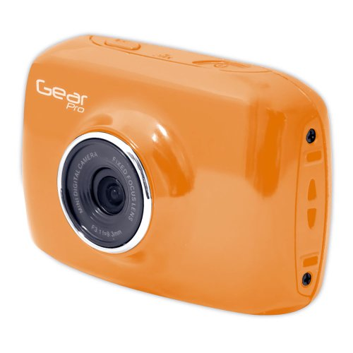 Sound Around GDV123OR Gear Pro HD Sport Action Camera, 720p Wide-Angle Camcorder with 2.0 Touch Screen SD Card Slot, USB Plug And Mic (Orange)