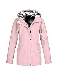 VEZAD Store Women Solid Rain Jacket Outdoor Plus Size Waterproof Hooded Windproof Loose Coat
