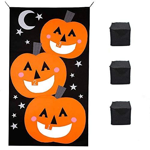Alasida Halloween Pumpkin Bean Bag Toss Games + 3 Bean Bags Halloween Games for Kids Party Halloween Decorations,30 x 54 -