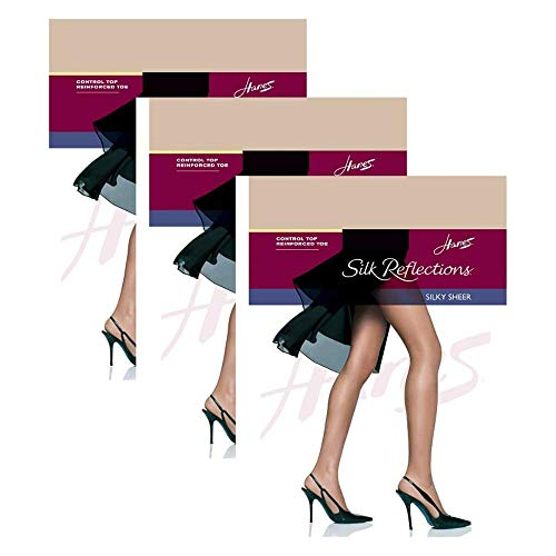 (Hanes Silk Reflections Control Top, Reinforced Toe Pantyhose 3 Pair )
