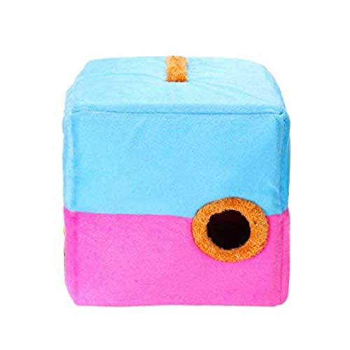 bluee and pink L bluee and pink L LCPG Square pet nest, pet cat dog autumn and winter thick warm folding kennel, pet portable semi-closed sleeping bag, cat litter breathable cute pet nest (color   bluee and pink, Size   L)