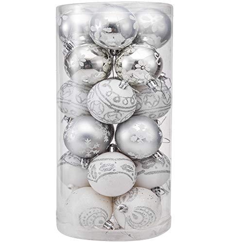 Daonanba Christmas Hanging Ornaments Xmas Tree Decoration Holiday Pendant Balls Silver and White