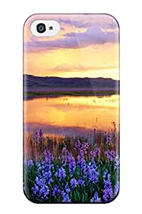 For IWLssca16780cCggl Sunset Mountain Flowers Digital Protective Case Cover Skin/iphone 4/4s Case Cover