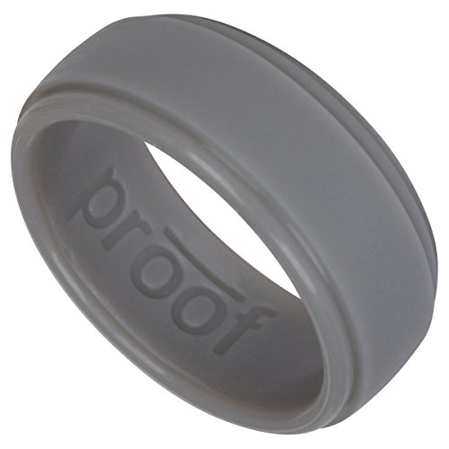 Proof Men's Silicone Wedding Ring Protects Your Hands & Proves Your Commitment Unique, Sleek Design Your Active Lifestyle (Gray, 11) -