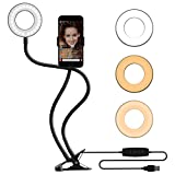 MeeQee Cell Phone Holder with Selfie Ring Light for Live Stream, Dimmable 3 Light Mode with Flexible Arms Phone Clip Holder Lazy Bracket Desk Lamp for Makeup, Youtube, Bedroom, Office, Kitchen - Black