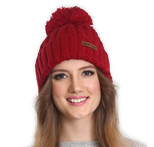 Pom Pom Beanie by Brook + Bay – Stay Warm & Stylish this Winter – Thick, Soft & Chunky Cable Knit Beanie Hats for Women & Men – Serious Beanies for Serious Style – DiZiSports Store