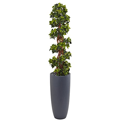(Nearly Natural 5' English Ivy Spiral Topiary Artificial Tree, Green)