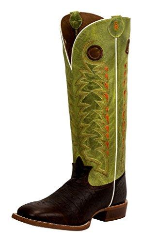 Tony Lama Men's Verde Choco Jasper 3R Buckaroo Cowboy Boot Square Toe Chocolate 9 EE US (Square Toe Buckaroo Boots)