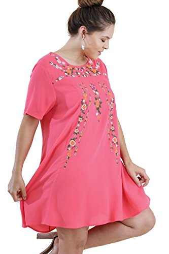 Umgee Women's Boho Chic Floral Embroidered Short Sleeve