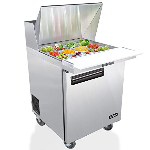 Food Prep Station - 28 Inches Single Door Salad Prep Table Refrigerator - KITMA 7.15 Cu. Ft Stainless Steel Sandwich Prep Station Table with Cutting Board and Pans, 33 °F - 38°F