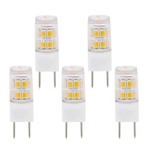 LED G8 Bulb, G8 T4 Bi-Pin Bulb LED G8 3000k JCD 110v 120v Xenon Halogen 20w 25w Replacement, Under Counter Kitchen Lighting, Under-Cabinet Light, Puck Light (Pack-5) ()