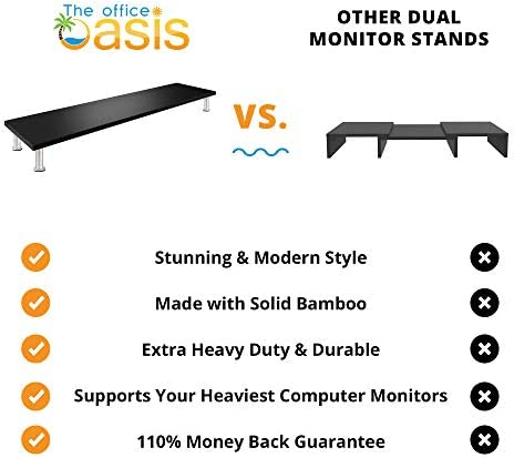 Large Dual Monitor Stand for Computer Screens – Solid Bamboo Riser Support The Heaviest Monitors, Printers, Laptops or TVs – Perfect Shelf Organizer for Office Desk Accessories & TV Stands (Black) 411uB 4DlHL
