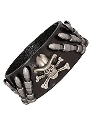The Jewelbox Bullet Skull Punk Biker Funky Handcrafted Rhodium Black Adjustable Leather Bracelet Stylish Boys