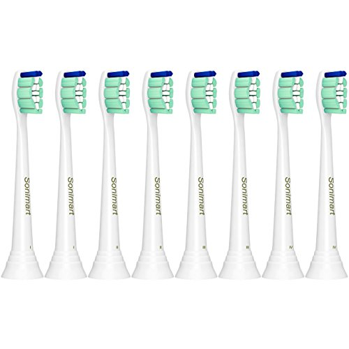 (Sonimart Replacement Toothbrush Heads compatible with Sonicare ProResults HX9024, 8 pack, fits 2 Series Plaque Control, 3 Series Gum Health, DiamondClean, FlexCare, HealthyWhite, EasyClean)