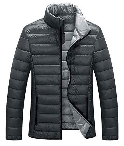 ZSHOW Men's Lightweight Stand Collar Packable Down Jacket(Dark Grey