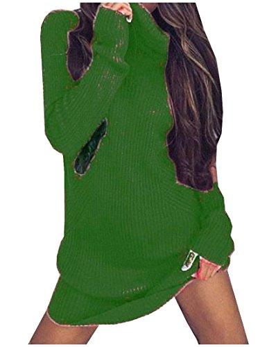 Maglioni Verdi Outwear Lunghe A Accoglienti Caldi Comodi Pullover Abiti Donne Maniche 5nvqxA