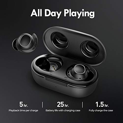 Wireless Earbuds, Mpow M30 in-Ear Bluetooth Headphones, Immersive Bass Sound, IPX8 Waterproof Sport Earphones, Touch Control Bluetooth Earbuds, 25 Hrs w/USB-C Charging Case/Twin&Mono Mode/Mics,Black
