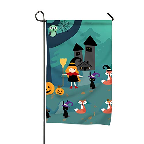 FunnyLife Halloween Season and Cute Happy Winter Garden Flags Decorative 12x18 inch Emblemize House Outdoor Flag -