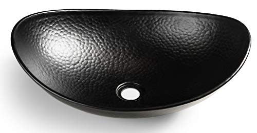 Monarch Abode 19186 Hand Hammered Matte Black Harbor Vessel Bathroom Sink 19 inches