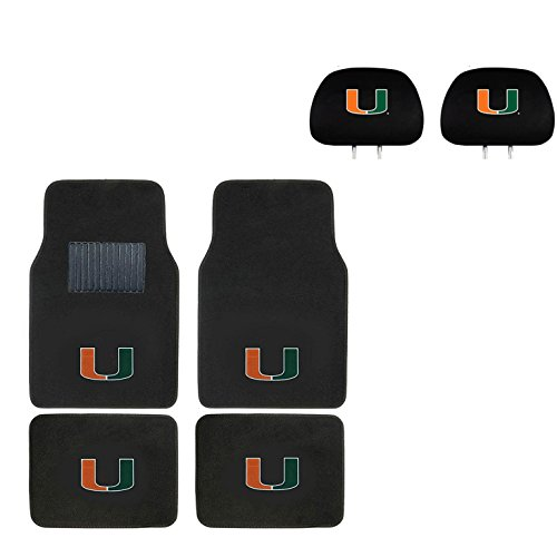 University of Miami Head Rest Cover and Floor mat. Logo On Front and Rear Auto Floor Liner. You get 2 headrest covers and 4 Floor Mat in this gift set. Perfect to University of Miami Hurricanes Fan
