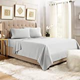 Empyrean Bedding 14' - 16' Deep Pocket Fitted Sheet 4 Piece Set - Hotel Luxury Soft Double Brushed Microfiber Top Sheet - Wrinkle Free Fitted Bed Sheet, Flat Sheet and 2 Pillow Cases - Queen, Silver