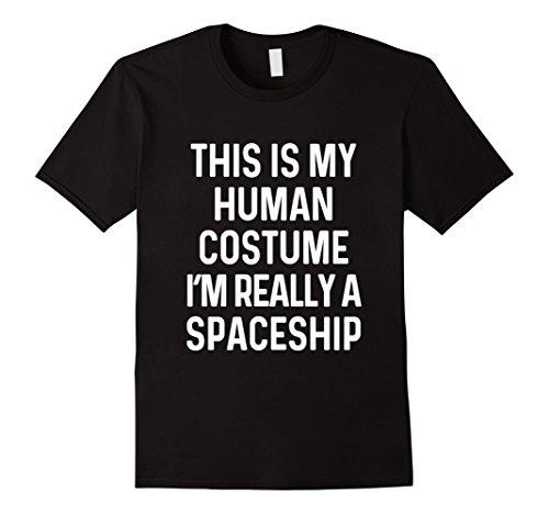 Mens Funny Spaceship Costume Shirt Halloween Adults Kid Men Women Large Black - Spaceship Costumes