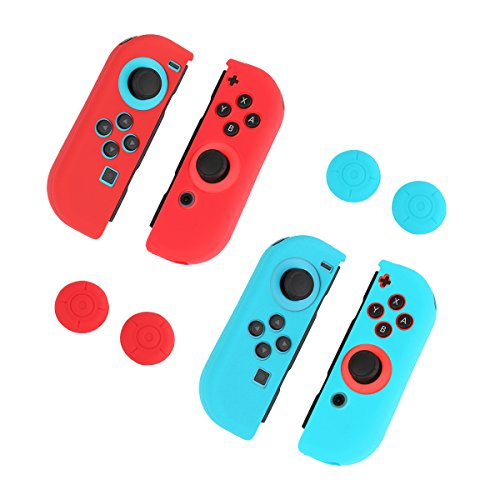 Pojazia Gel Guards & Thumb Stick Caps for Nintendo Switch Joy-Con 2 Sets - Blue + Red