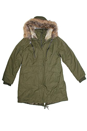 1 Madison Expedition Ladies' Anorak Jacket Coat/Faux Fur Hood (Olive, (Fur Anorak)