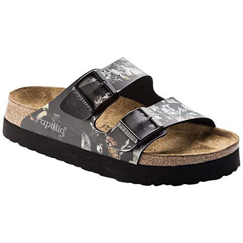 Papillio Womens Arizona Birko-Flor Golden Age Black Sandals 6 US
