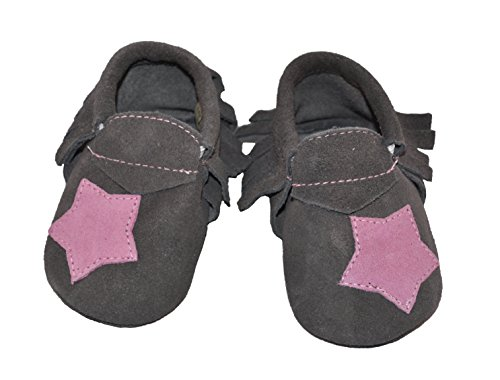 Liv & Leo Baby Girls Moccasins Soft Sole Crib Shoes Slip-on 100% Leather - Star Collection (0-6 Months, Grey/Pink Star (Suede))