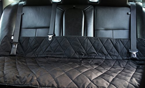 Quilted Shift - Plush Paws JUST Bench Seat Cover for Dogs & Kids, Waterproof, NonSlip with Seat Anchors Compatible with Cars, Trucks & Suv's WITHOUT Headrests - Black