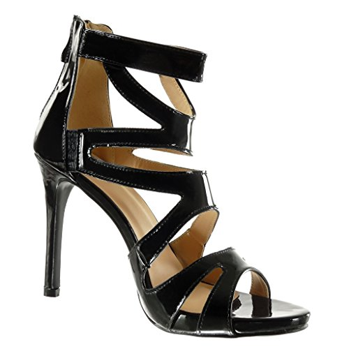 Angkorly - Zapatillas de Moda Sandalias Tacón escarpín stiletto Correa de tobillo sexy mujer brillantes Talón Tacón de aguja alto 11.5 CM - Negro
