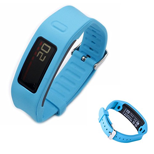 CFX Replacement Wristband with Metal Watch Clasp for Garmin Vivofit Wristbands,Solve the Problem of Falling Off (Blue)