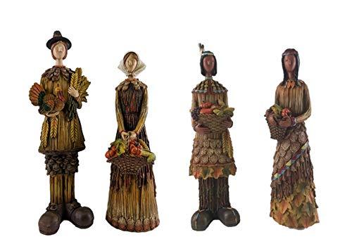 American Pilgrim - Gerson Woodland Pilgrims & Native Americans Fall Figurines - Set of 4