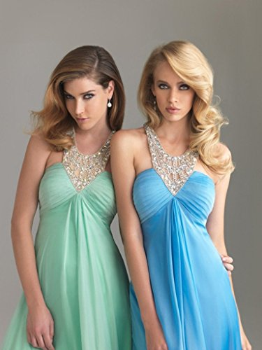 2016 Sexy Dresses Prom Aurora Halter Chiffon Bridal with Back Gowns Turquoise Staps 5TqW0Bpn