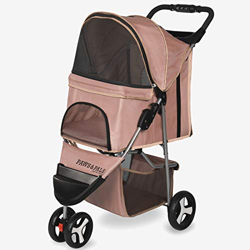 Paws & Pals 3 Wheeler Elite Jogger Pet Stroller Cat/Dog Easy Walk Folding Travel Carrier, Beige