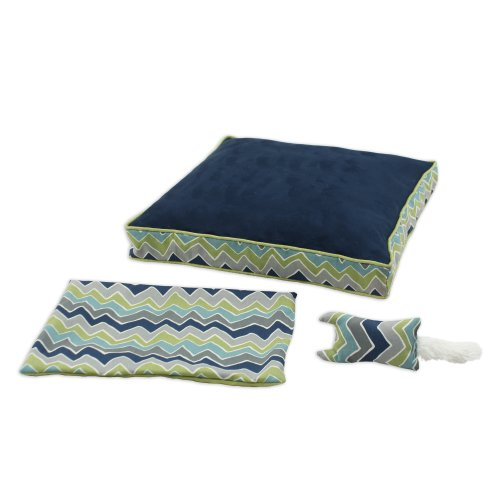 Rectangle Boxed (Brite Ideas Living Passion Suede Navy See Saw 23 by 23-Inch Boxed Pet Bed with Versatile Cover and Rectangle Toy, Set of 3)