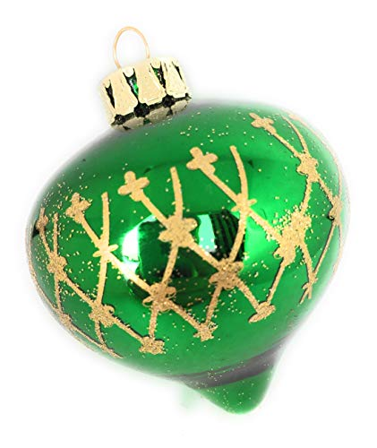- Noel Rue Green and Gold Glass Teardrop Finial Christmas Tree Ornament